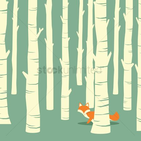Backdrops : Fox in forest background design