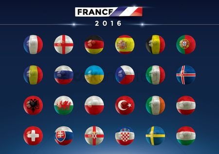 Ukraine : France 2016 football team icons