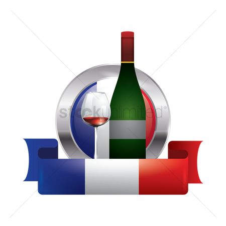 Red wines : France flag with wine bottle