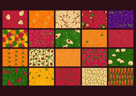 Slices : Fruit and vegetable backgrounds