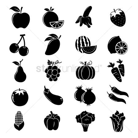 Mangoes : Fruit and vegetable silhouettes