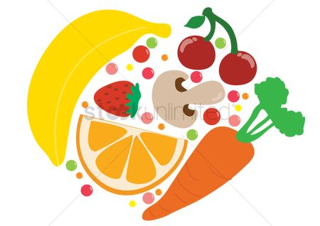 Red : Fruits and vegetables