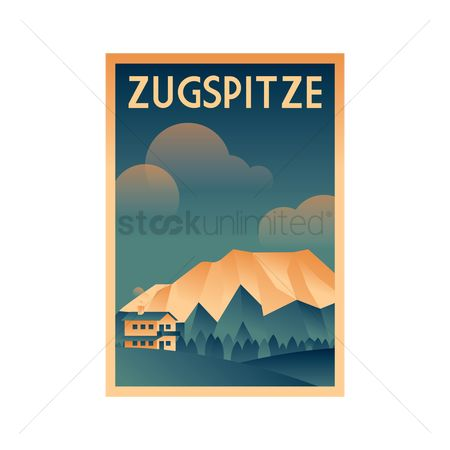 Skiing : Germany poster design - zugspitze