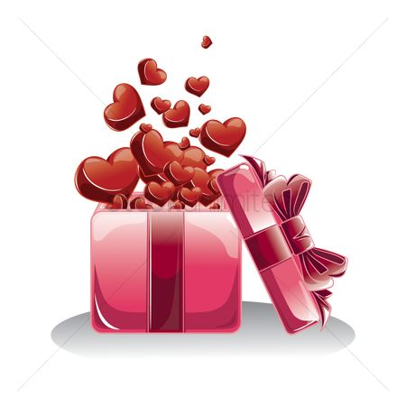 Romance : Gift box with hearts