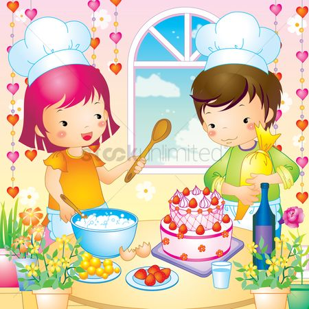 Pastry : Girl and boy baking a cake