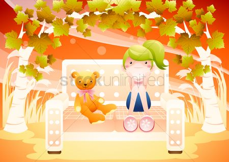 Teddybears : Girl and teddy bear on bench