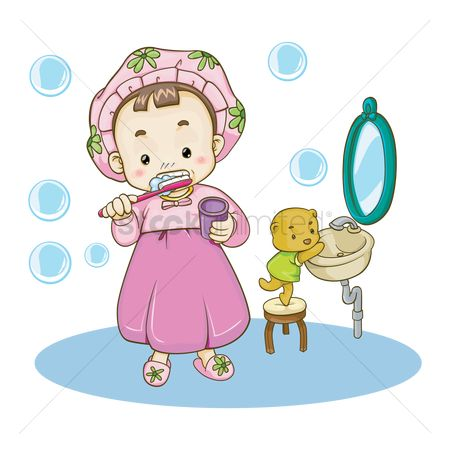 Teddybear : Girl brushing her teeth