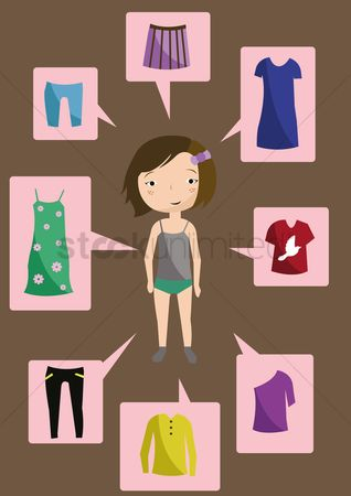 Skirt : Girl choosing clothes
