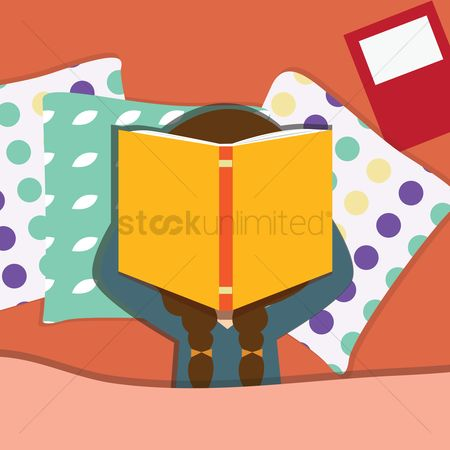 Laying : Girl covering her face with a book