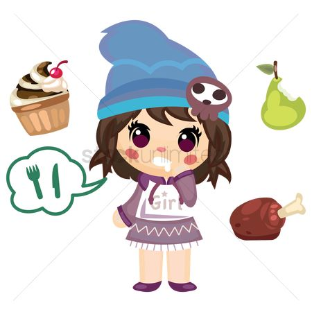 Chicken piece : Girl eating pear