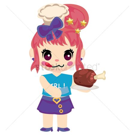 Chicken piece : Girl holding a drumstick