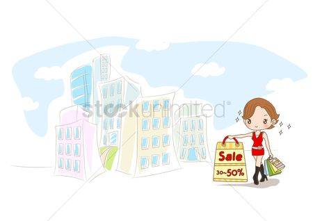 Discounts : Girl holding discount sale shopping bag