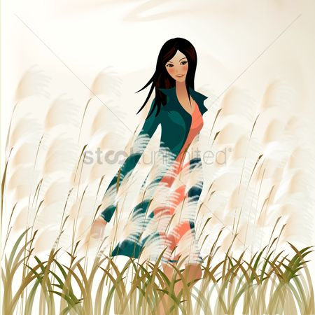 Grass : Girl in a field
