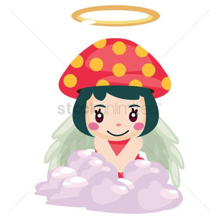 Halo : Girl in a mushroom costume with a halo and wings