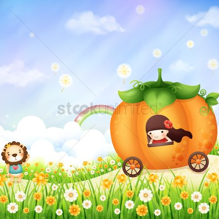 Grass : Girl in a pumpkin carriage