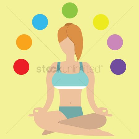 Meditations : Girl in seated meditation with chakra orientation