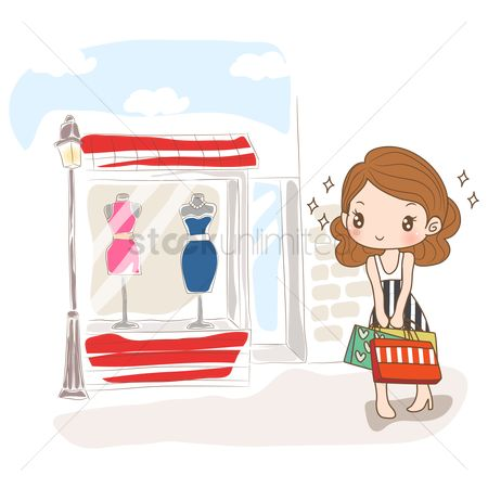 Fashions : Girl looking at dress on display