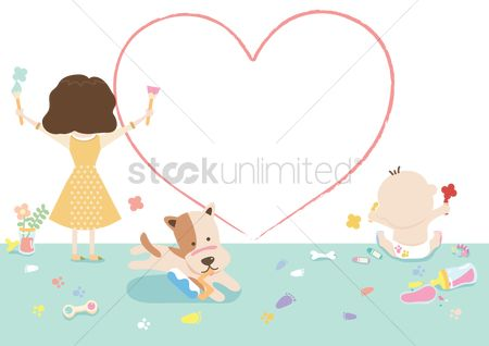 Play kids : Girl painting a heart shape