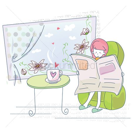 Indoor : Girl reading newspaper