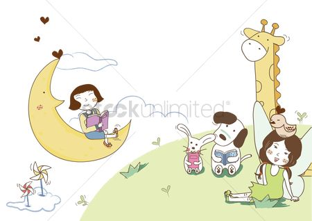 Moon : Girl reading story to her friends