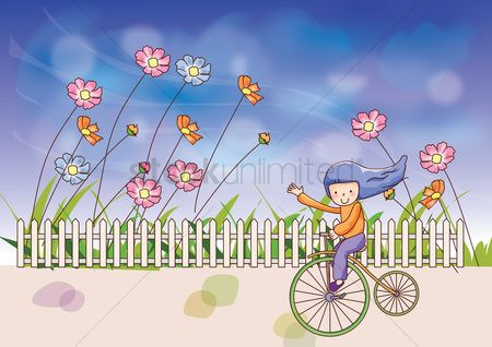 Bicycles : Girl riding a bicycle