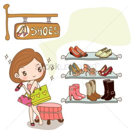 Fashions : Girl shopping for new shoes