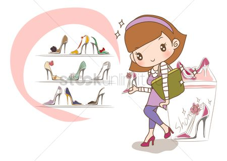 Footwears : Girl shopping for new shoes