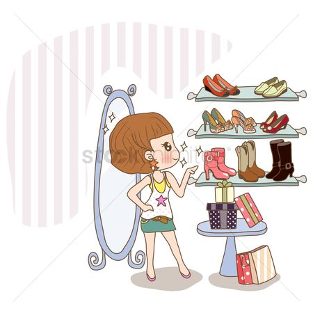 Footwear : Girl shopping for new shoes