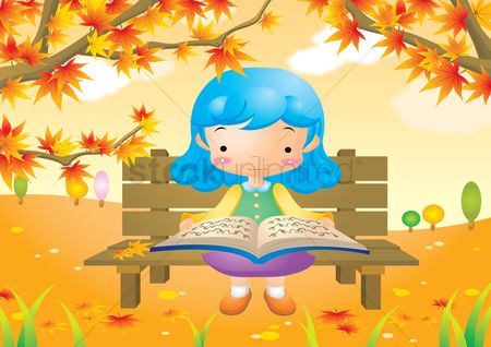Kids : Girl sitting on bench and reading a book