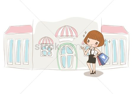 Handbags : Girl standing at shopping street