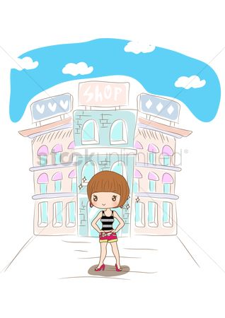 Fashions : Girl standing on shopping street