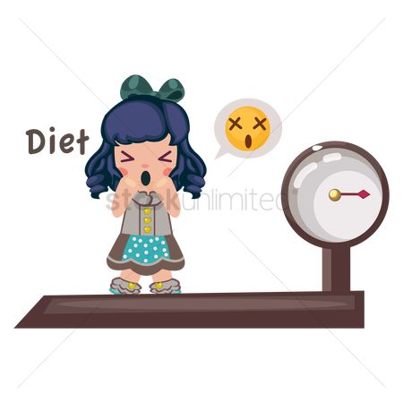 Diets : Girl standing on weight machine