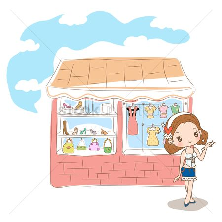Handbags : Girl standing outside fashion store