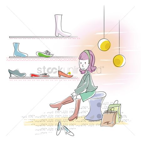 Interior : Girl trying on new shoes at shop