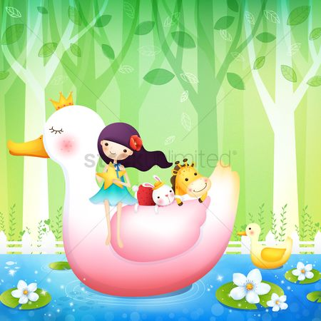 Duck : Girl with animals on a duck