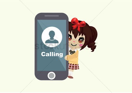 Calling : Girl with cell phone