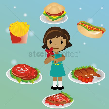 Unhealthy eating : Girl with fast food