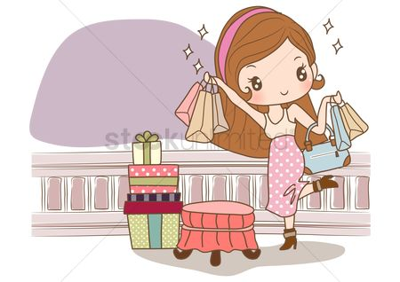 Interior : Girl with shopping bags and gift boxes