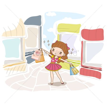 Shops : Girl with shopping bags on street