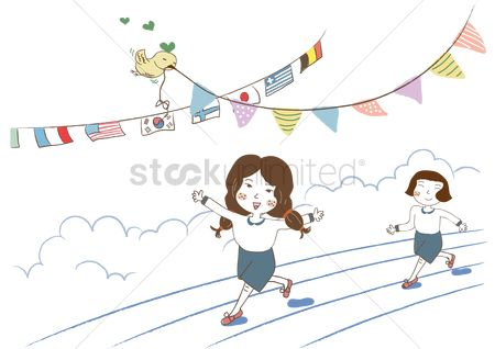 Race : Girls running marathon