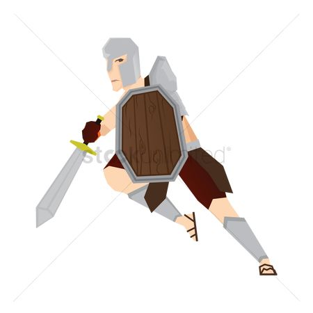 Arm : Gladiator soldier with sword and shield