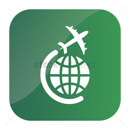 Airway : Globe and plane travel icon