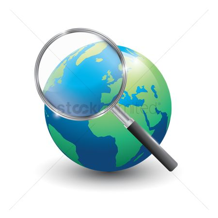 Cartography : Globe with magnifying glass