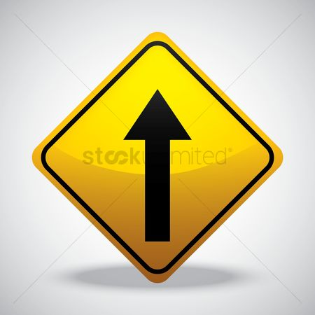Attention : Go straight road sign