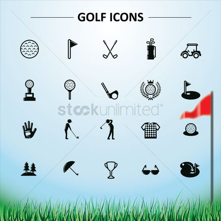 Umbrella : Golf icons collection