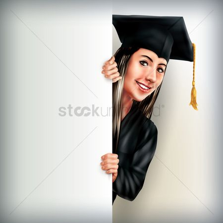 Clothings : Graduate woman holding placard