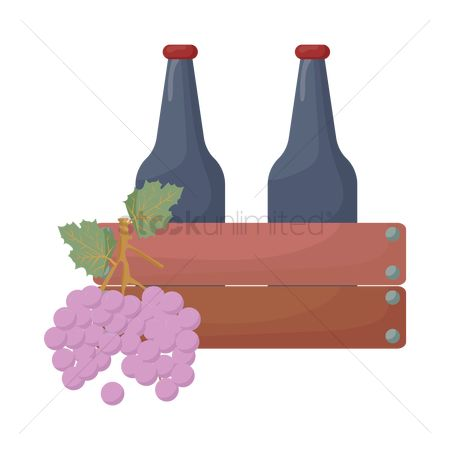 Red wines : Grape and wine bottles in crate