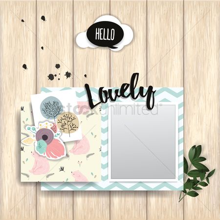 Picture : Greeting card with photo frame on wooden plank