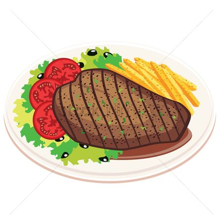 French fries : Grilled steak with fries and salad