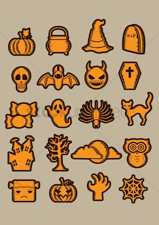 Devils : Halloween icon collection